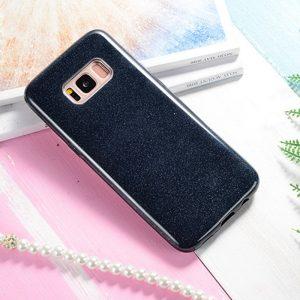 Силиконовый (TPU+PC) чехол Shine с блестками для Samsung G955 Galaxy S8 (Черный)