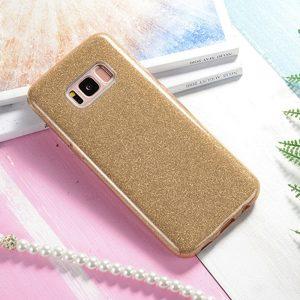 Силиконовый (TPU+PC) чехол Shine с блестками Samsung G955 Galaxy S8 Plus (Золотой)