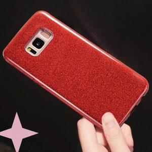 Силиконовый (TPU+PC) чехол с блестками Samsung G955 Galaxy S8 Plus (Красный)