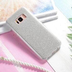 Силиконовый (TPU+PC) чехол Shine с блестками Samsung G955 Galaxy S8 Plus (Серебряный)