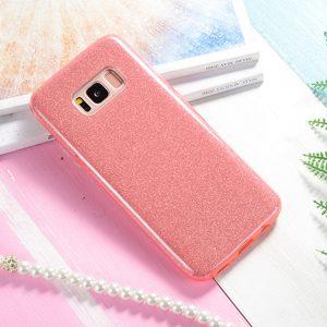 Силиконовый (TPU+PC) чехол Shine с блестками Samsung G955 Galaxy S8 Plus (Розовый)