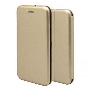 Кожаный чехол-книжка 360 с визитницей для Samsung Galaxy S7 Edge (G935) – Gold