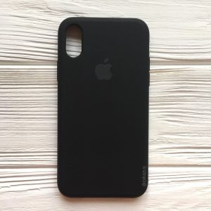 Оригинальный чехол Silicone Case с микрофиброй для Iphone XS Max №7 (Black)