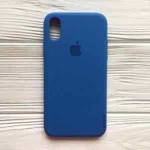 Оригинальный чехол Silicone Case с микрофиброй для Iphone X / XS №12 (Blue)