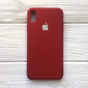 Оригинальный чехол Silicone Case с микрофиброй для Iphone XS Max №26 (Burgundy)