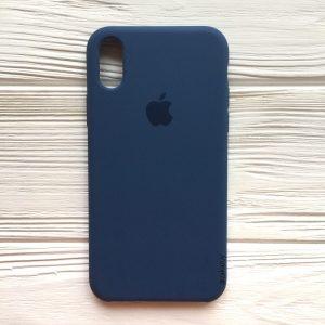 Оригинальный чехол Silicone Case с микрофиброй для Iphone X / XS №22 (Dark Blue)