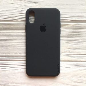 Оригинальный чехол Silicone Case с микрофиброй для Iphone XS Max №37 (Dark Grey)