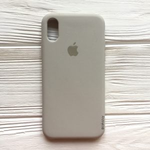 Оригинальный чехол Silicone Case с микрофиброй для Iphone X / XS №16 (Light Cocoa)