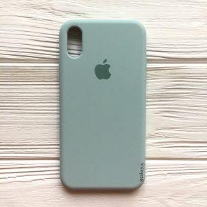 Оригинальный силиконовый чехол (Silicone case) для Iphone X / XS (Light Mint) №21