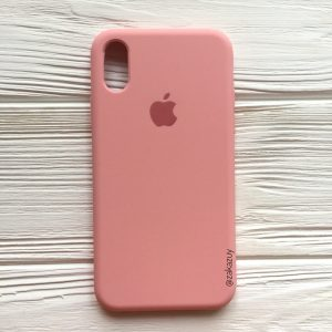 Оригинальный чехол Silicone Case с микрофиброй для Iphone XS Max №14 (Light pink)
