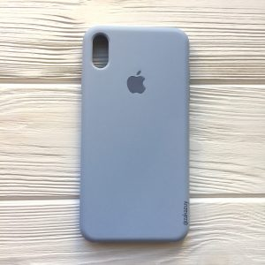 Оригинальный чехол Silicone Case с микрофиброй для Iphone XS Max №15 (Lilac cream)