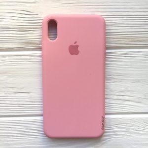 Оригинальный чехол Silicone Case с микрофиброй для Iphone XS Max №35 (Pink)