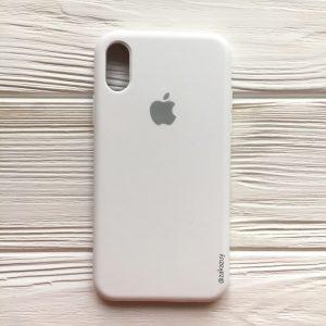 Оригинальный чехол Silicone Case с микрофиброй для Iphone XR  №6 (White)