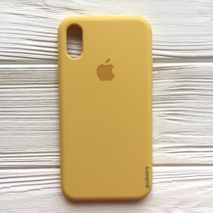Оригинальный чехол Silicone Case с микрофиброй для Iphone XS Max №13 (Yellow)