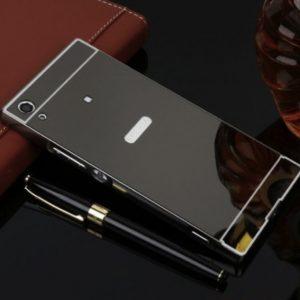 Алюминиевый чехол-бампер с акриловой вставкой с зеркальным покрытием для Sony Xperia XA1 Ultra / XA1 Ultra Dual (Grey)