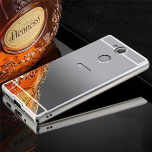 Металлический бампер с акриловой вставкой с зеркальным покрытием для Sony Xperia XA2 (Grey)