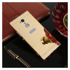 Алюминиевый бампер с акриловой вставкой с зеркальным покрытием для Sony Xperia XA2 Ultra (Gold)
