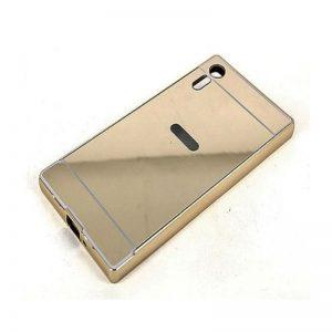 Алюминиевый бампер с акриловой вставкой с зеркальным покрытием для Sony Xperia XZ (Gold)