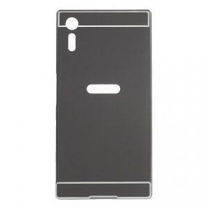 Алюминиевый бампер с акриловой вставкой с зеркальным покрытием для Sony Xperia XZ (Grey)