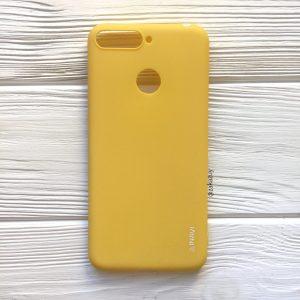 Матовый силиконовый TPU чехол на Huawei Y6 Prime 2018 / Honor 7A Pro / Honor 7C (Желтый)
