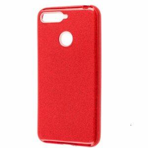 Красный чехол (накладка) TPU+PC с блестками для Huawei Y6 Prime (2018) / Honor 7A Pro / Honor 7C (Red)