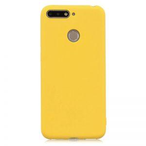 Матовый силиконовый TPU чехол на Huawei Y7 Prime 2018 / Honor 7C Pro (Желтый)