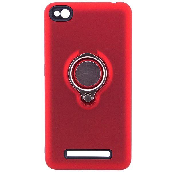 Красный чехол (бампер) TPU+PC Deen с кольцом и креплением для магнитного держателя для Xiaomi Redmi 4a (Red)