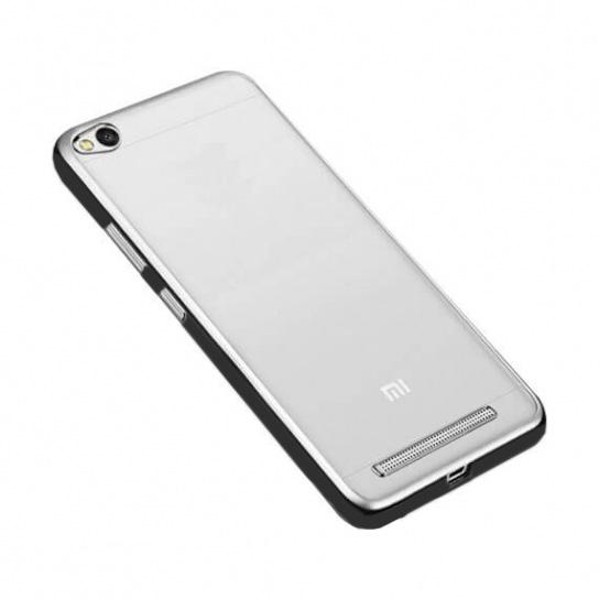 Прозрачный силиконовый (TPU) чехол (накладка) с черным глянцевым ободком для Xiaomi Redmi 4a (Black)