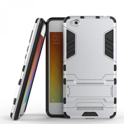 Серебряный противоударный (ударопрочный) чехол (бампер) TPU+PC Transformer с подставкой для Xiaomi Redmi 4a (Silver)