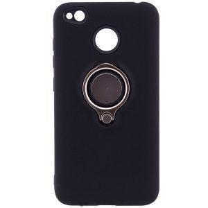 (TPU+PC) чехол (бампер) Deen с кольцом и креплением под магнитный держатель для Xiaomi Redmi 4х (Black)