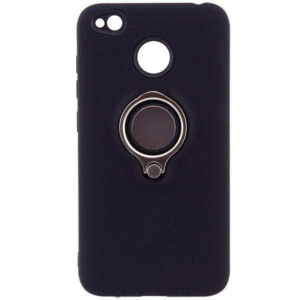 Черный (TPU+PC) чехол (бампер) Deen с кольцом и креплением под магнитный держатель для Xiaomi Redmi 4х (Black)