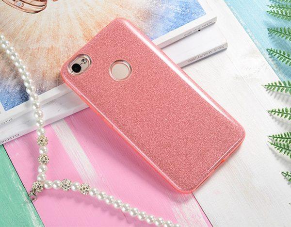 Розовый силиконовый (TPU+PC) чехол (накладка) Shine с блестками для Xiaomi Redmi 4х (Pink)