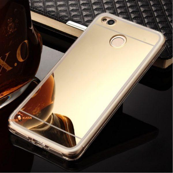Золотой силиконовый (TPU) чехол (накладка) с зеркальной вставкой для Xiaomi Redmi 4х (Gold)