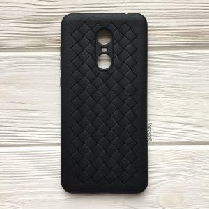 Силиконовый TPU чехол SKYQI плетеный под кожу для Xiaomi Redmi 5 Plus – Черный