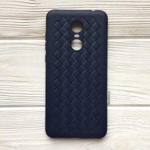 Силиконовый TPU чехол SKYQI плетеный под кожу для Xiaomi Redmi 5 Plus – Темно-синий