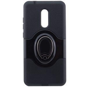 Противоударный (ударопрочный) (TPU+PC) чехол (бампер) Deen Feather с кольцом и креплением под магнитный держатель для Xiaomi Redmi 5 Plus (Black)
