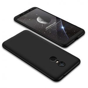 Матовый пластиковый чехол GKK 360 градусов для Xiaomi Redmi 5 Plus (Черный)