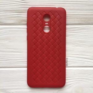 Силиконовый TPU чехол SKYQI плетеный под кожу для Xiaomi Redmi 5 Plus – Красный