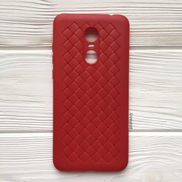 Красный силиконовый (TPU) чехол (накладка) с переплетом для Xiaomi Redmi 5 (Red)