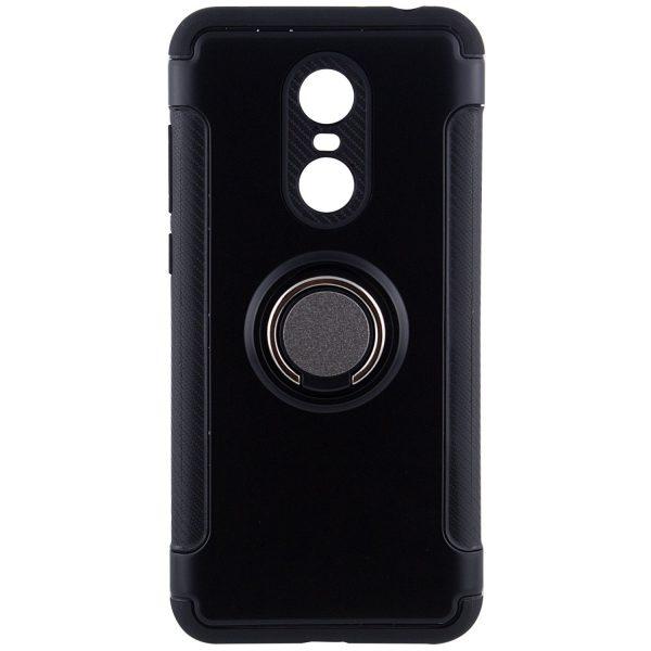 Черный противоударный (ударопрочный) (TPU+PC) чехол (бампер) Deen Verus с кольцом и креплением под магнитный держатель для Xiaomi Redmi 5 Plus (Black)