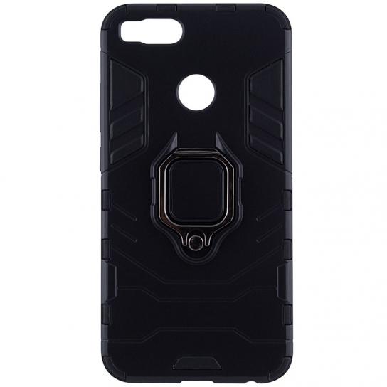 Черный противоударный (ударопрочный) TPU+PC чехол (бампер) Transformer Ring c кольцом и креплением под магнитный держатель для Xiaomi Mi 5x / Mi A1 (Black)