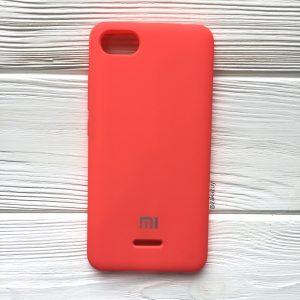 Кораловый оригинальный матовый силиконовый (TPU) чехол Silicone Cover с микрофиброй для Xiaomi Redmi 6А (Coral)