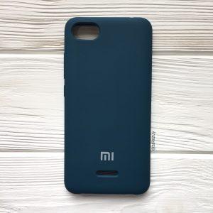 Изумрудный оригинальный матовый силиконовый (TPU) чехол Silicone Cover с микрофиброй для Xiaomi Redmi 6А (Dark Green)