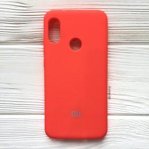 Кораловый оригинальный матовый силиконовый (TPU) чехол Silicone Cover с микрофиброй для Xiaomi Redmi 6 Pro / Mi A2 Lite (Coral)