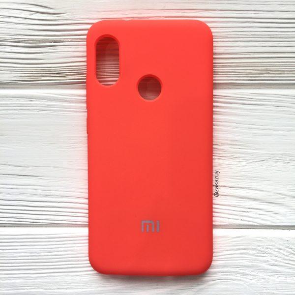 Кораловый оригинальный матовый силиконовый (TPU) чехол Silicone Cover с микрофиброй для Xiaomi Redmi Note 6 Pro (Coral)