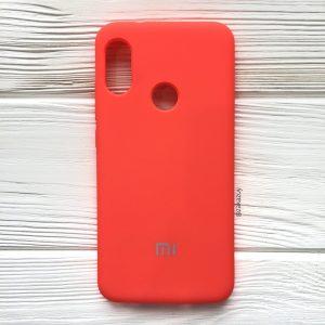 Оригинальный чехол Silicone Case с микрофиброй для Xiaomi Redmi 6 Pro / Mi A2 Lite (Кораловый)