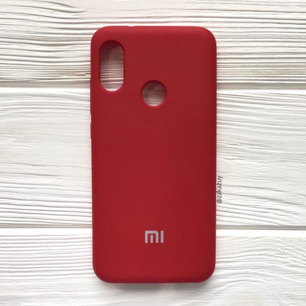 Бордовый оригинальный матовый силиконовый (TPU) чехол Silicone Cover с микрофиброй для Xiaomi Redmi Note 6 Pro (Dark Red)