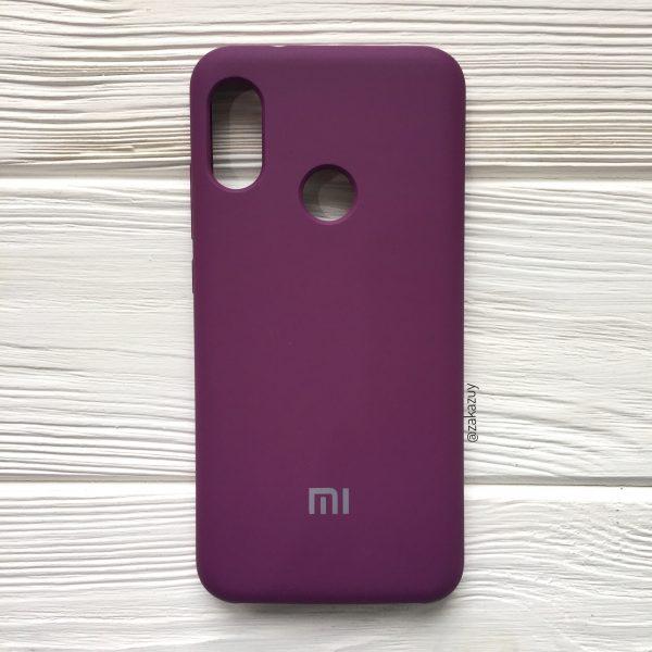Баклажановый оригинальный матовый силиконовый (TPU) чехол Silicone Cover с микрофиброй для Xiaomi Redmi Note 6 Pro (Purple)