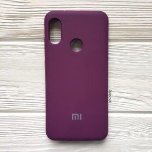 Оригинальный чехол Silicone Case с микрофиброй для Xiaomi Redmi 6 Pro / Mi A2 Lite (Баклажановый)