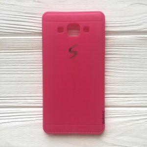 Розовый силиконовый (TPU) чехол (накладка) с логотипом для Samsung А500 Galaxy А5 (2015) (Pink)